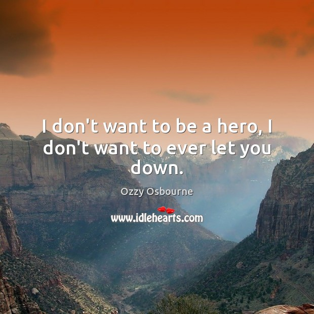 I don't want to be a hero, I don't want to ever let you down. Image