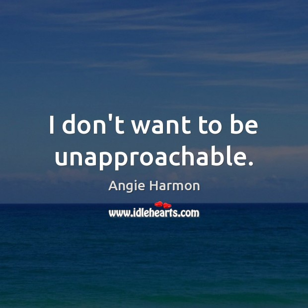 I don't want to be unapproachable. Angie Harmon Picture Quote