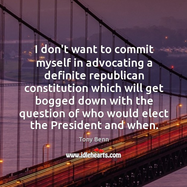Image, I don't want to commit myself in advocating a definite republican constitution