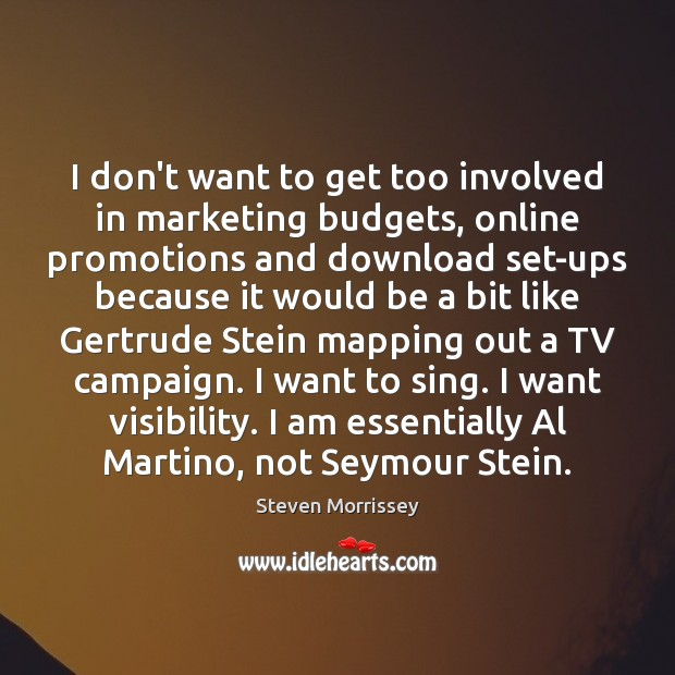 I don't want to get too involved in marketing budgets, online promotions Steven Morrissey Picture Quote