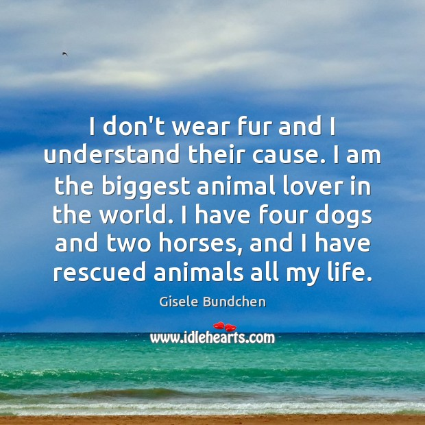 Image, I don't wear fur and I understand their cause. I am the
