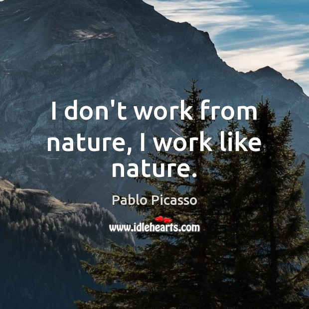 Image, I don't work from nature, I work like nature.