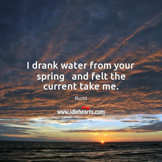 Image, I drank water from your spring   and felt the current take me.