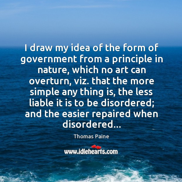 Image, I draw my idea of the form of government from a principle