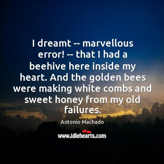 I dreamt — marvellous error! — that I had a beehive here Antonio Machado Picture Quote