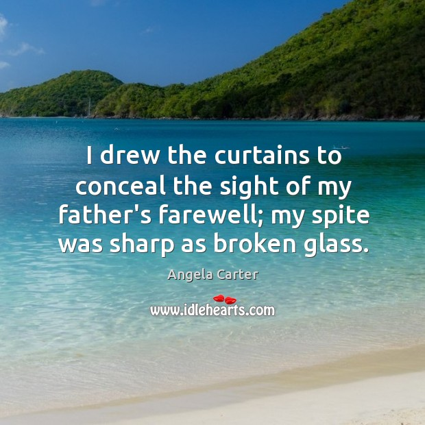 I drew the curtains to conceal the sight of my father's farewell; Image