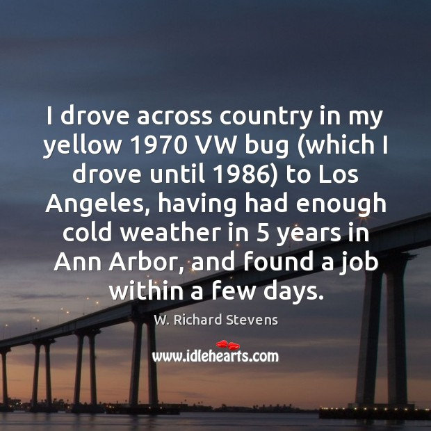 Image, I drove across country in my yellow 1970 VW bug (which I drove