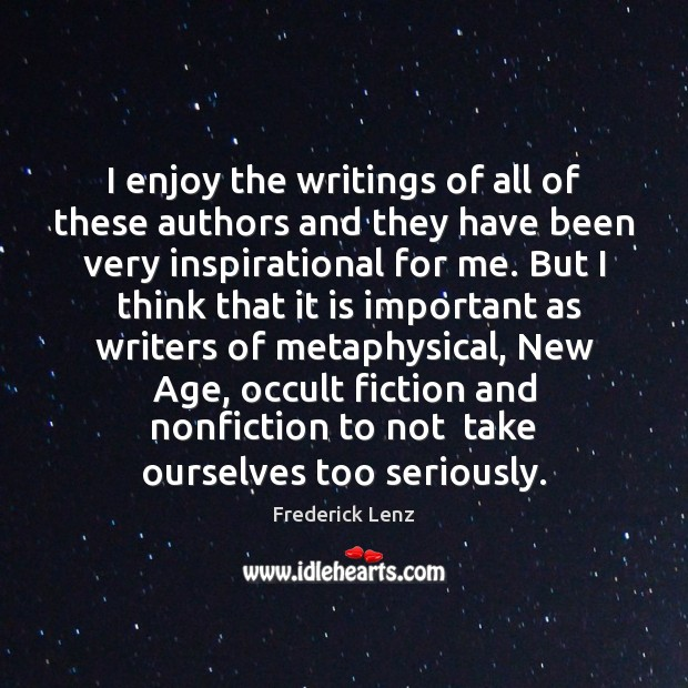 I enjoy the writings of all of these authors and they have Image
