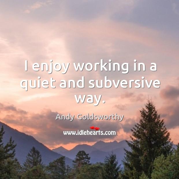 I enjoy working in a quiet and subversive way. Image
