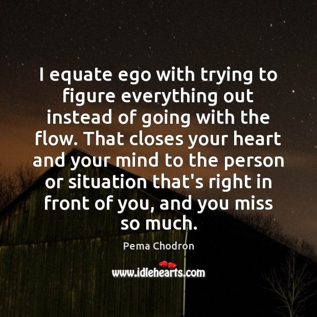 Image, I equate ego with trying to figure everything out instead of going