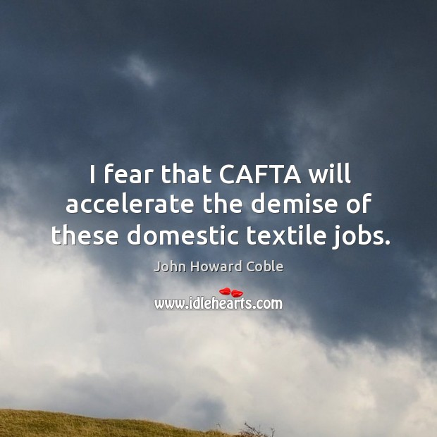 I fear that cafta will accelerate the demise of these domestic textile jobs. Image