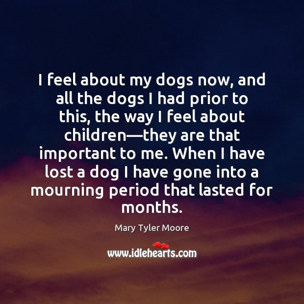 I feel about my dogs now, and all the dogs I had Mary Tyler Moore Picture Quote