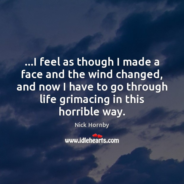 …I feel as though I made a face and the wind changed, Nick Hornby Picture Quote