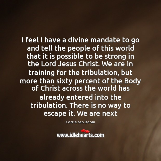 I feel I have a divine mandate to go and tell the Be Strong Quotes Image