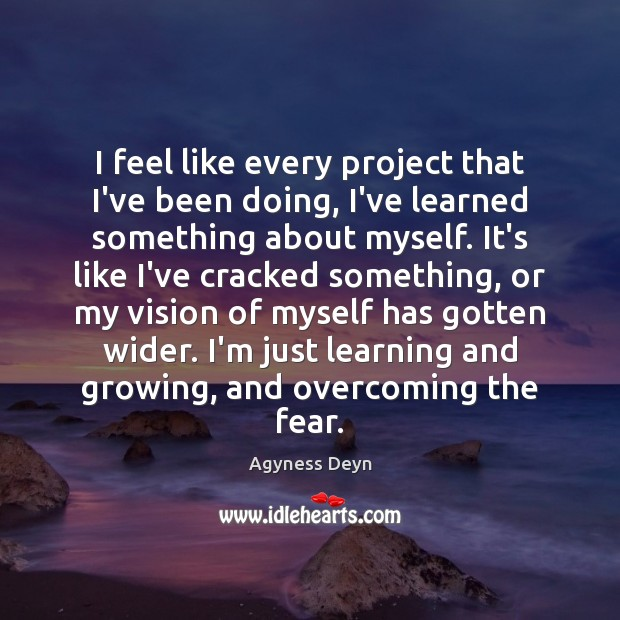 I feel like every project that I've been doing, I've learned something Agyness Deyn Picture Quote