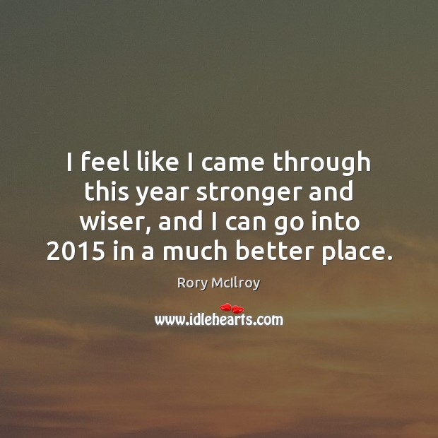 I feel like I came through this year stronger and wiser, and Image