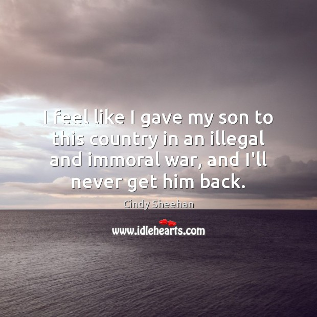 I feel like I gave my son to this country in an Cindy Sheehan Picture Quote