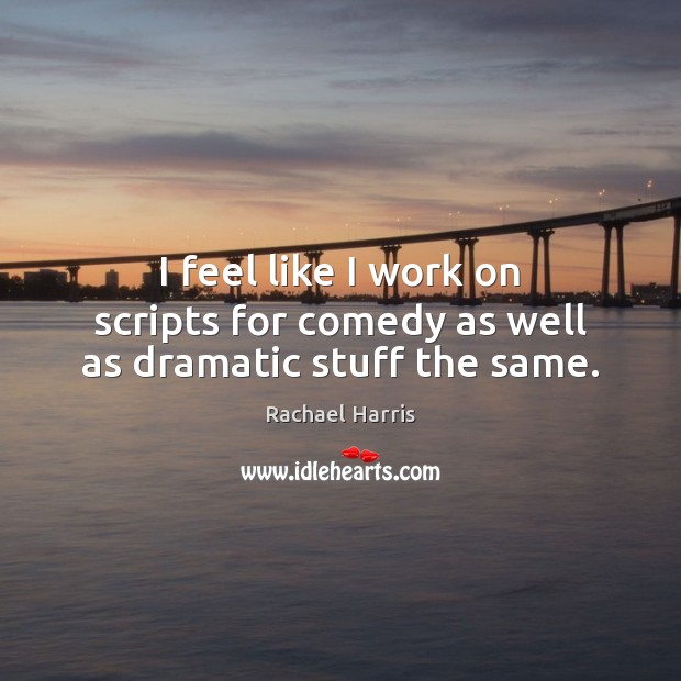 I feel like I work on scripts for comedy as well as dramatic stuff the same. Rachael Harris Picture Quote