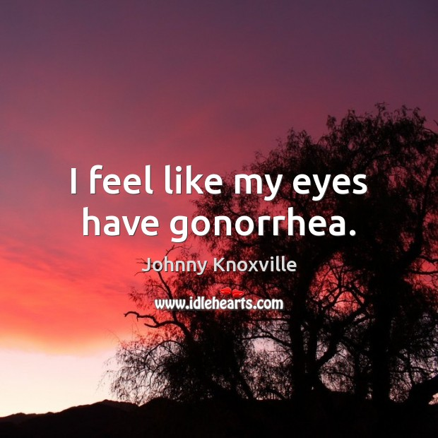 I feel like my eyes have gonorrhea. Johnny Knoxville Picture Quote