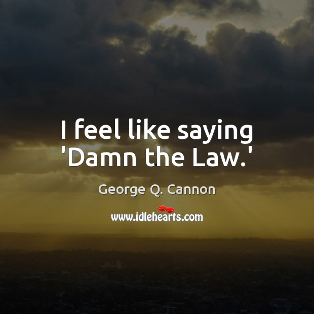 I feel like saying 'Damn the Law.' George Q. Cannon Picture Quote