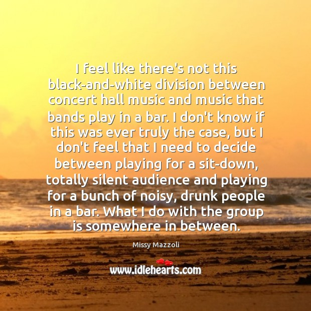 I feel like there's not this black-and-white division between concert hall music Missy Mazzoli Picture Quote