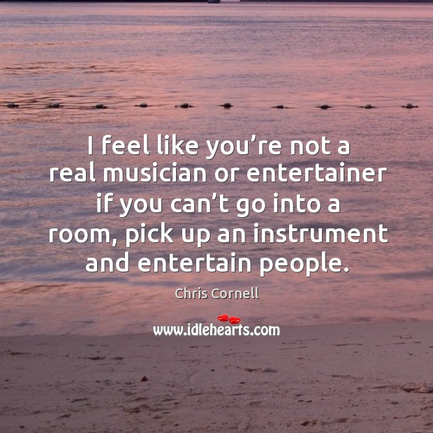 I feel like you're not a real musician or entertainer if you can't go into a room Chris Cornell Picture Quote