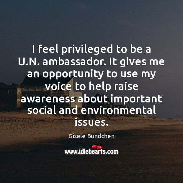 Image, I feel privileged to be a U.N. ambassador. It gives me