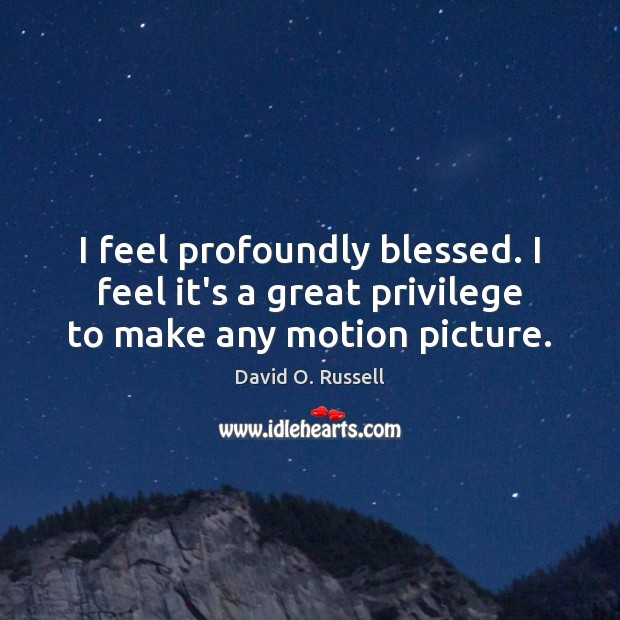 I feel profoundly blessed. I feel it's a great privilege to make any motion picture. David O. Russell Picture Quote