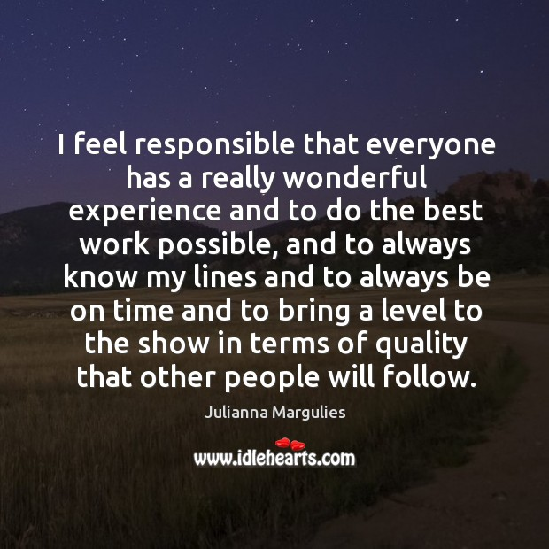 I feel responsible that everyone has a really wonderful experience and to do the best work possible Julianna Margulies Picture Quote