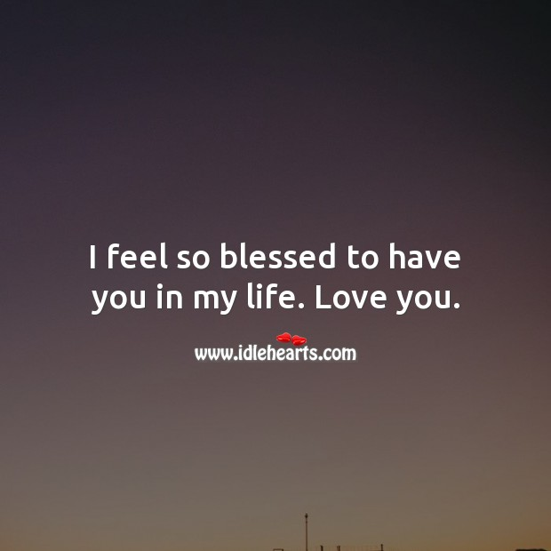 I feel so blessed to have you in my life. Love you. I Love You Quotes Image