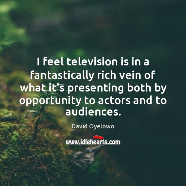 I feel television is in a fantastically rich vein of what it's Television Quotes Image