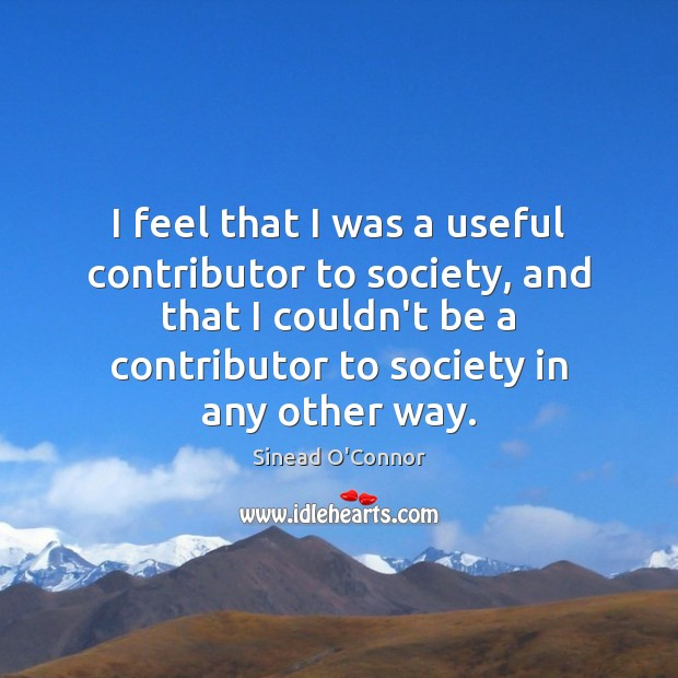 I feel that I was a useful contributor to society, and that Sinead O'Connor Picture Quote