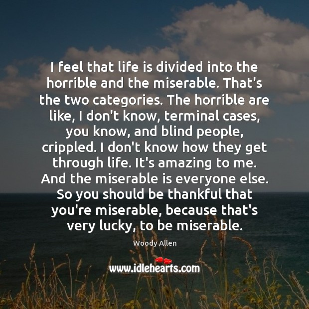 I feel that life is divided into the horrible and the miserable. Image