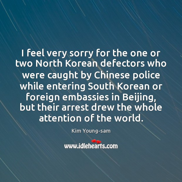 I feel very sorry for the one or two North Korean defectors Image