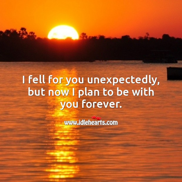 I fell for you unexpectedly, but now I plan to be with you forever. Love Forever Quotes Image