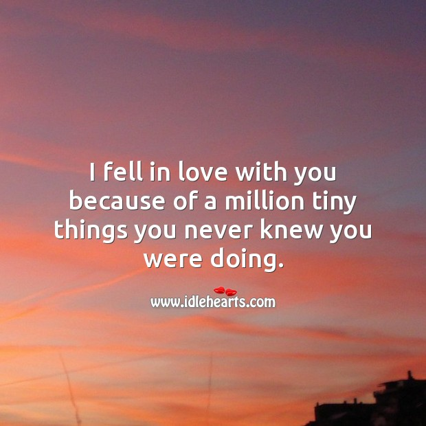 I fell in love with you because of a million tiny things you never knew you were doing. Falling in Love Quotes Image