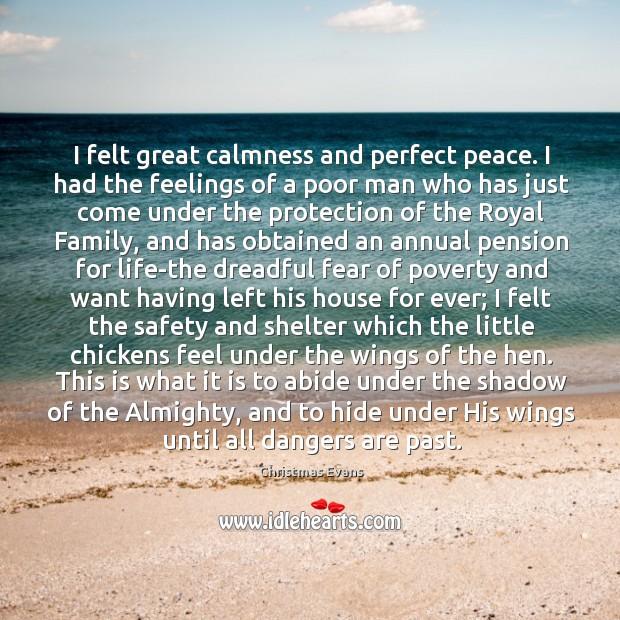 I felt great calmness and perfect peace. I had the feelings of Image