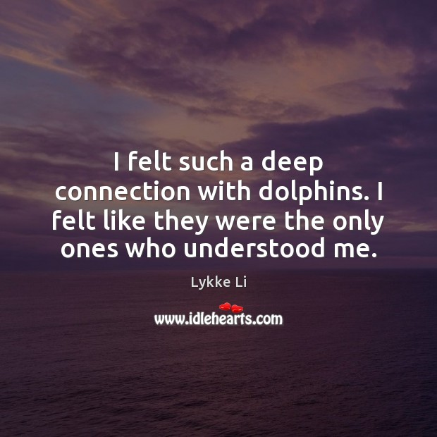 I felt such a deep connection with dolphins. I felt like they Lykke Li Picture Quote