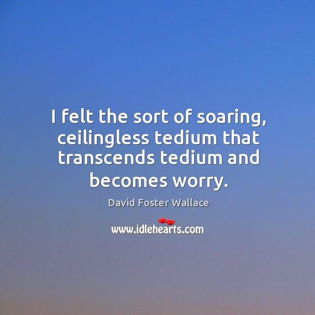 I felt the sort of soaring, ceilingless tedium that transcends tedium and becomes worry. Image