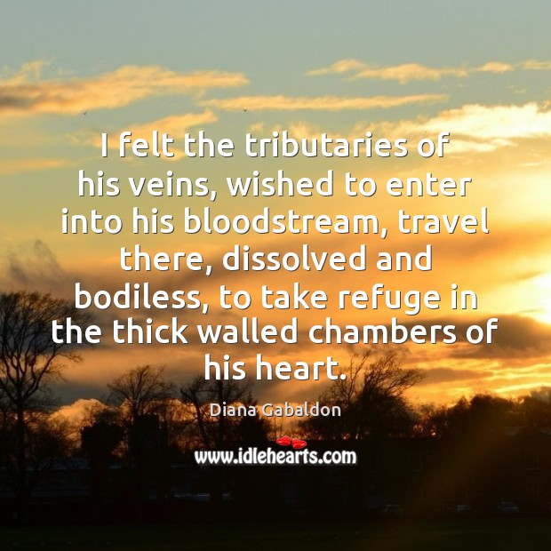 Image, I felt the tributaries of his veins, wished to enter into his