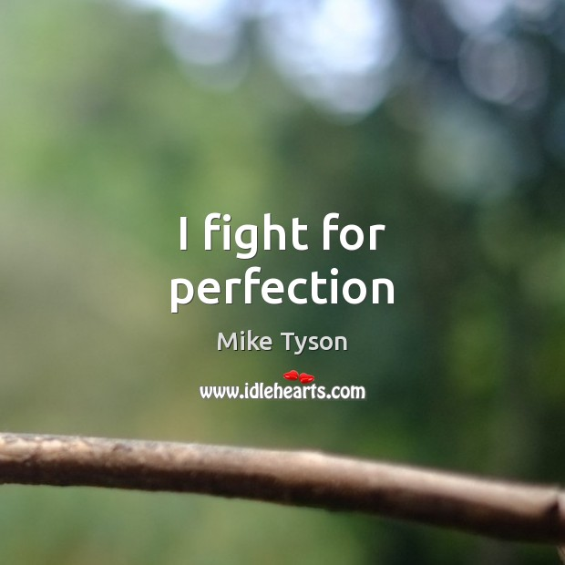 I fight for perfection Mike Tyson Picture Quote