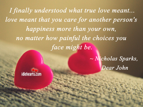 True love is when you care for other person's happiness. Nicholas Sparks Picture Quote