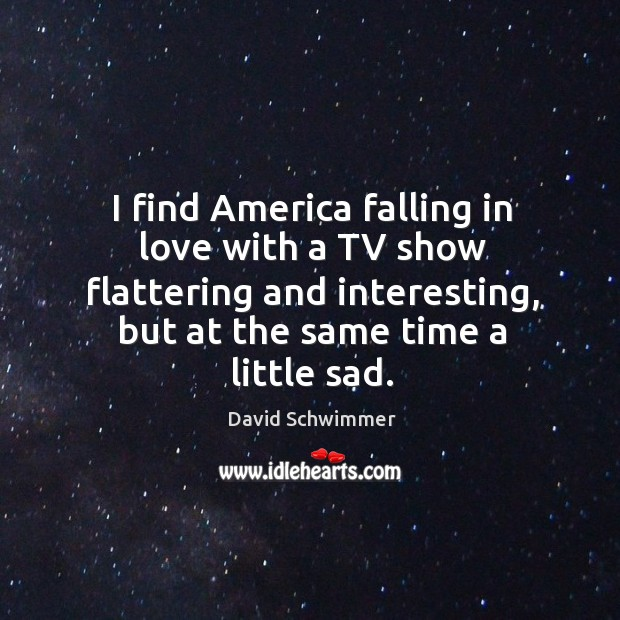 I find america falling in love with a tv show flattering and interesting, but at the same time a little sad. David Schwimmer Picture Quote
