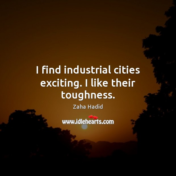 I find industrial cities exciting. I like their toughness. Zaha Hadid Picture Quote