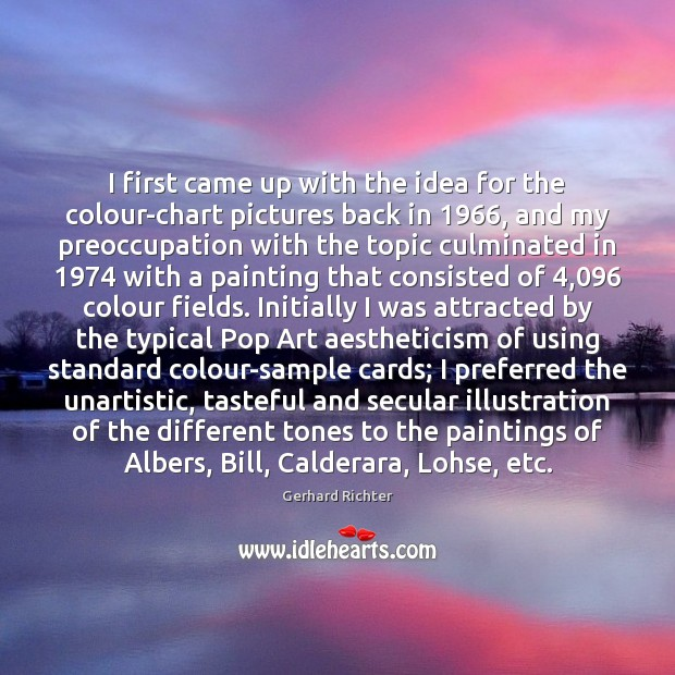 Image, I first came up with the idea for the colour-chart pictures back