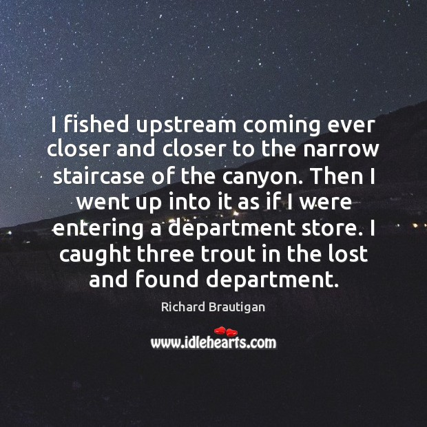 I fished upstream coming ever closer and closer to the narrow staircase Image