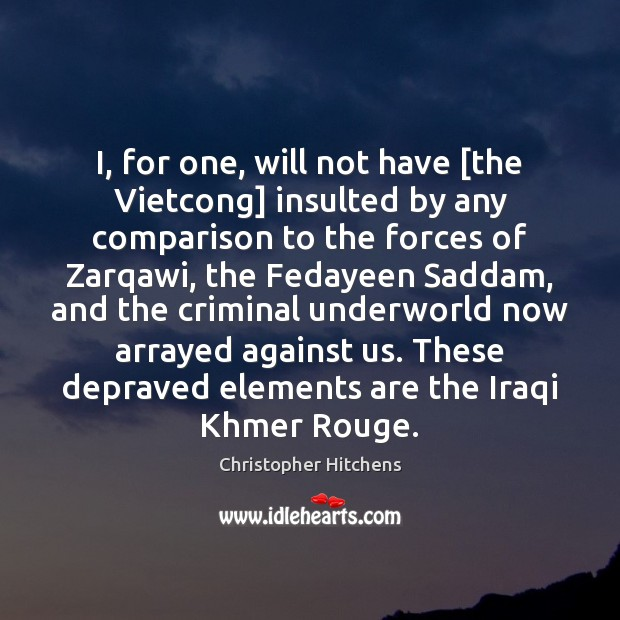 Image, I, for one, will not have [the Vietcong] insulted by any comparison