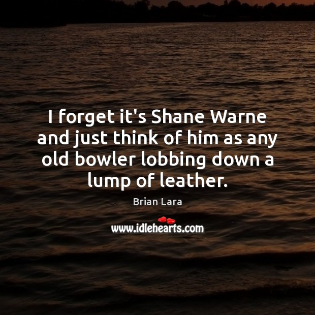 Image, I forget it's Shane Warne and just think of him as any