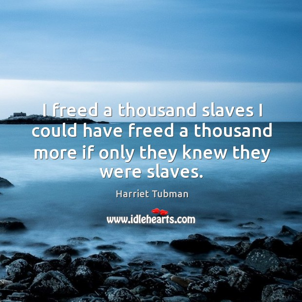 I freed a thousand slaves I could have freed a thousand more if only they knew they were slaves. Image