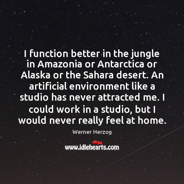 Image, I function better in the jungle in Amazonia or Antarctica or Alaska